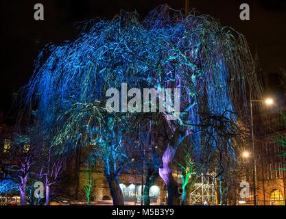 Edinburgh, Scotland, United Kingdom, 21st February 2018. Night light display in Edinburgh called 'Edinburgh Lumens', - Stock Photo