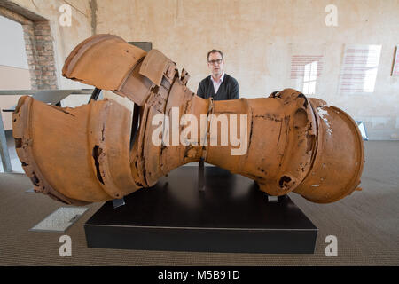 20 February 2018, Germany, Peenemuende: Philipp Aumann, exhibition curator at the Historical-Technical Museum Peenemuende, - Stock Photo