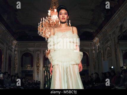 February 20, 2018 - Tokyo, Japan - Japanese Kimono and Bridal designer Yumi Katsura unveiled her latest fashion - Stock Photo