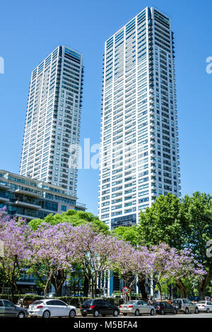 Buenos Aires Argentina Puerto Madero Torres del Yacht skyscraper residential buildings tree lined street parked - Stock Photo