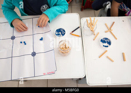 Mariana Parra Rosado attends a Mayan mathematics class at Escuela Modelo primary school in Merida, Yucatan, Mexico - Stock Photo
