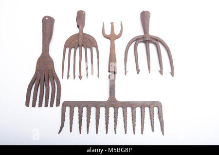 Antique fish spears, that could be used for catching a variety of fish. Dorset England UK GB - Stock Photo
