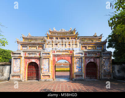West Gate, Chuong Duc, Hoang Thanh Imperial Palace, Forbidden City, Hue, Vietnam - Stock Photo