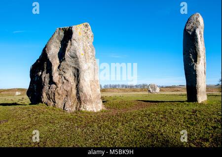 part of the stone circle at Avebury Ring - Stock Photo