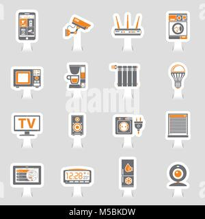 Smart House and internet of things sticker icons set - Stock Photo