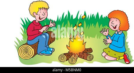 A cartoon boy and girl warming their hands sitting by a campfire - Stock Photo