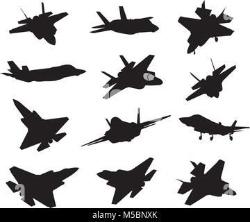 12 Military aircrafts set - Stock Photo