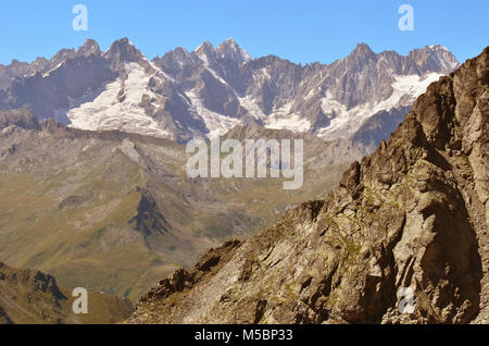 Mont Blanc Massif viewed from Switzerland, from left to right : Mont Dolent, Aiguille de l'A Neuve, Aiguille d'Argentiere - Stock Photo