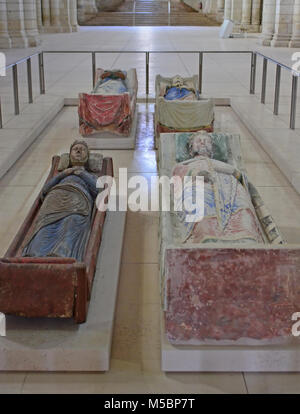 King Henry II, King Richard the Lionheart and Queen Eleanor of Aquitaine, in fontevraux Abbey - Stock Photo