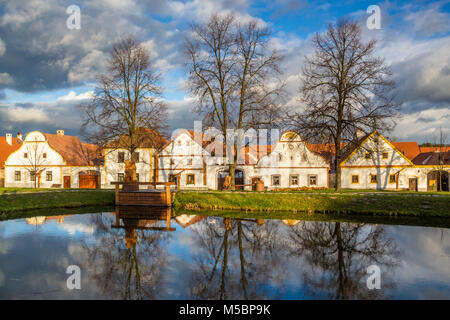 small historic village located in the south of the Czech Republic, Unesco world heritage - Stock Photo