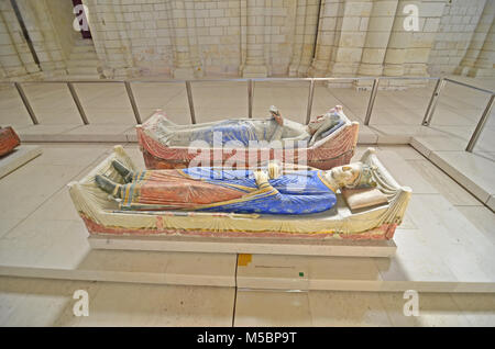 The 800 year old tombs of King Henry II of England and his Queen Eleanor of Aquitaine in the royal Abbey of Fontevraud - Stock Photo