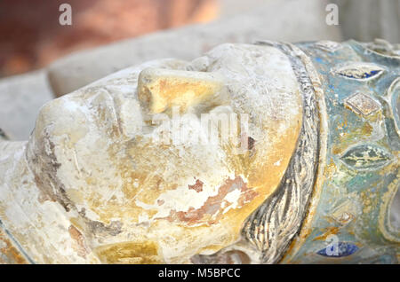 Detail of the 800 year old  tomb of King Henry II of England at Fontevraud Abbey - Stock Photo