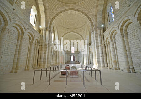 the tombs of King Henry II of England and Richard the Lionheart at Fontevraud Abbey - Stock Photo