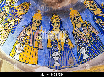 Most probably depictions of the Elders of the Apocalypse, fresco in the rock-hewn church Abuna Gebre Mikael at Koraro, - Stock Photo