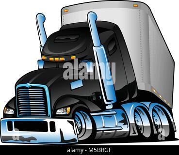 Semi Truck with Trailer Cartoon Vector Illustration - Stock Photo