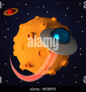 Ufo in space in cartoon style. Retro alien spaceship - Stock Photo