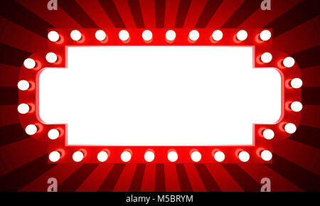 Glowing retro cinema banner with rays. 3D rendering - Stock Photo