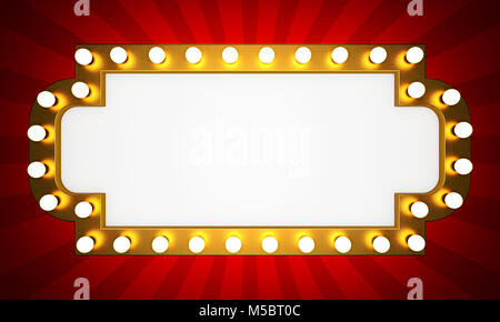Golden retro cinema banner with rays. 3D rendering - Stock Photo