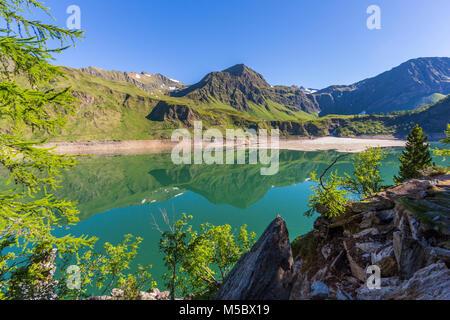 natural lake Ritom in canton ticino Piora valley - Stock Photo