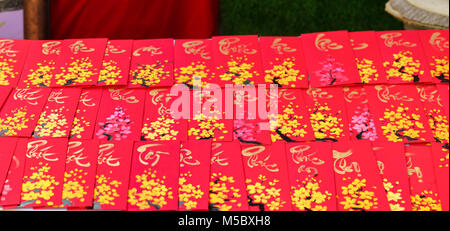 Lunar New Year Calligraphy decorated with text 'Merit, fortune, longevity' in Vietnamese meaning who owns will be - Stock Photo