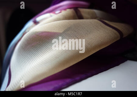 Purple and yellow transparent fabric from close - Stock Photo