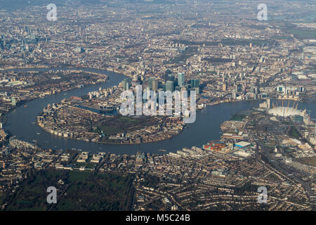 Aerial view of Canary Wharf, London from the south. - Stock Photo