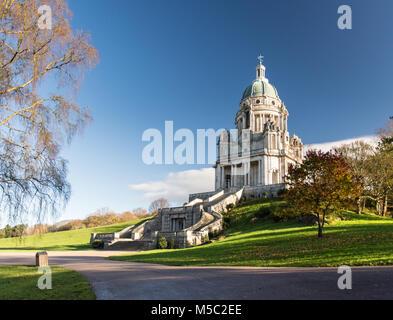 Lancaster, England, UK - November 12, 2017: Sunshine lights up the Portland Stone structure of the Ashton Memorial, - Stock Photo