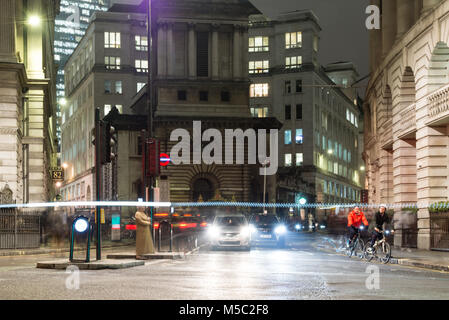 London, England, UK - January 11, 2018: Traffic waits at signals at Bank junction in the city of London, with St - Stock Photo