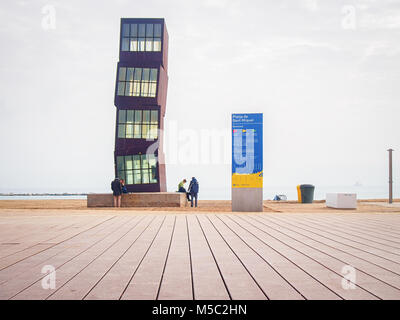 BARCELONA, SPAIN-FEBRUARY 17, 2018: Sculpture L'Estel Ferit (The Wounded Shooting Star) designed by installation - Stock Photo