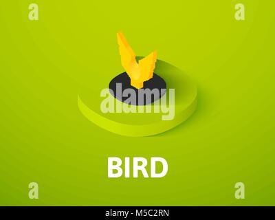 Bird isometric icon, isolated on color background - Stock Photo