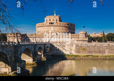View of Sant Angelo Castle and Sant Angelo Bridge over Tiber River in Rome, Italy