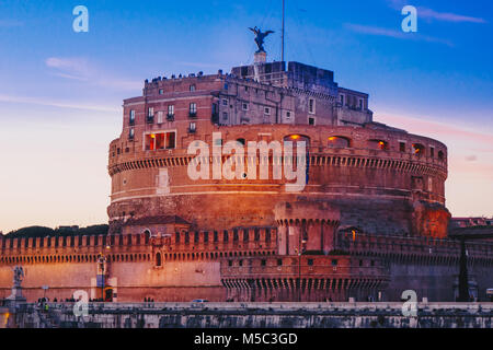Saint Angelo Castle by night, Rome, Italy