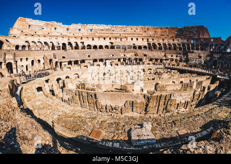 Panoramic view of the inside of the Roman Colosseum in Rome, Italy - Stock Photo