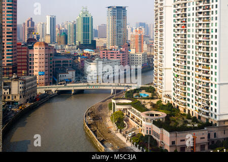 Shanghai, China - View of Huangpu district and Wusong river at Downtown. - Stock Photo