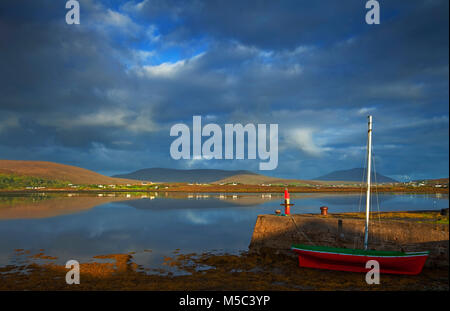 Looking across Achill Sound to Achill Island, County Mayo, Ireland - Stock Photo