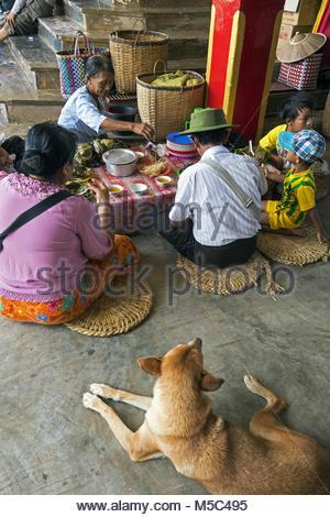 Myanmar, Shan State, Taunggyi District, Inle Lake, Phaung Daw Oo pagoda - Stock Photo