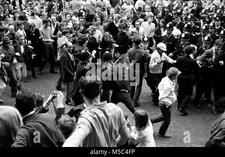 Anti-Vietnam war protest in London on 21 July 1968:  Demonstrators clash with police near the American Embassy in - Stock Photo
