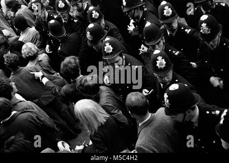 Anti-Vietnam war protest in London on 21 July 1968:  Demonstrators confront police near the American Embassy in - Stock Photo