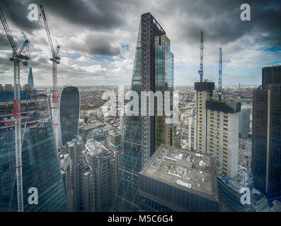 UK Weather: City of London high rise office buildings under cloudy skies from top of The Gherkin, 22 October 2017. - Stock Photo