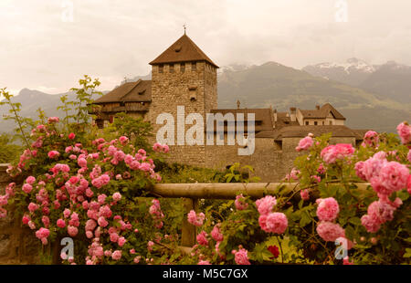 Gutenberg Castle in Vaduz, Liechtenstein. This castle is the palace and official residence of the Prince of Liechtenstein - Stock Photo