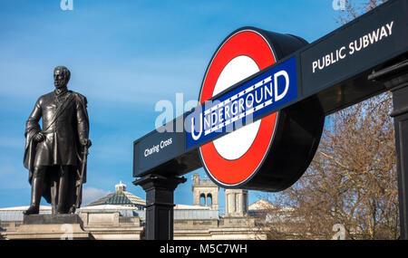 Charing Cross Underground tube station subway entrance, on Trafalgar Square, next to statue of Major General Sir Henry Havelock. London, England, UK.