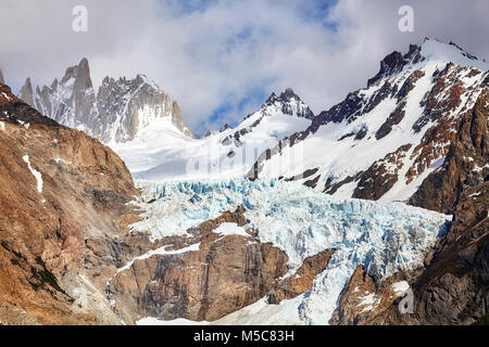 Glacier in the Fitz Roy Mountain Range, Los Glaciares National Park, Argentina. - Stock Photo