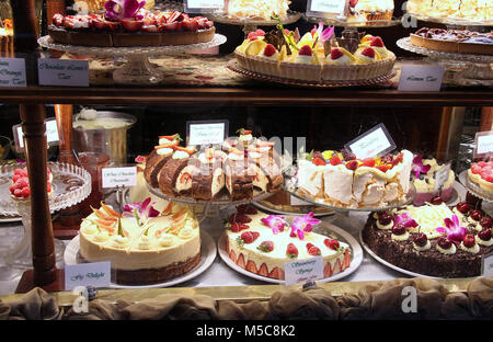 Cakes displayed in the window of Hopetoun Tea Room in Melbourne - Stock Photo