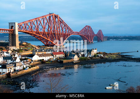 The Forth Rail bridge viewed from North Queensferry spans the Firth of Forth between North and South Queensferry, - Stock Photo