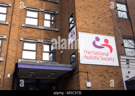 The National Autistic Society Head Office at 393 City Road, Angel, London. NAS is a British charity for people with - Stock Photo