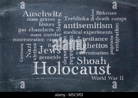 Holocaust word cloud - white chalk text on a slate blackboard - Stock Photo