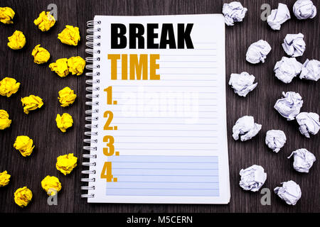 Conceptual hand writing text caption showing Break Time. Business concept for Stop Pause From Work Workshop Written - Stock Photo
