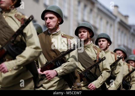 Belarus, Gomel, May 9, 2017, the Victory Day celebration,Soldiers of the Second World War in the ranks of the parade.Build - Stock Photo