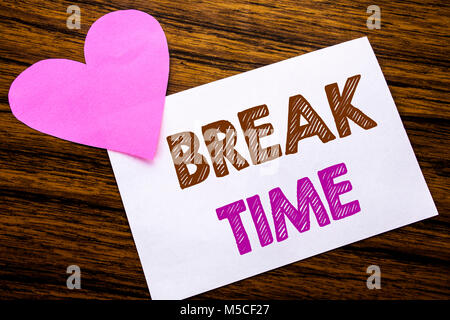 Conceptual hand writing text showing Break Time. Concept for Stop Pause From Work Workshop written on sticky note - Stock Photo