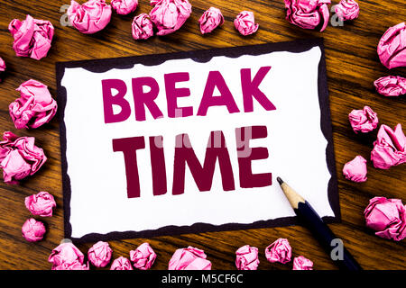 Hand writing text caption inspiration showing Break Time. Business concept for Stop Pause From Work Workshop Written - Stock Photo